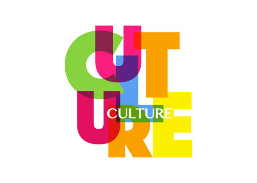 Culture concept letters banner, colorful fashion vector typography logo, isolated on white background