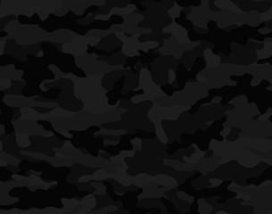 Fototapeta  Black camouflage seamless vector pattern.