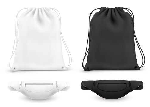 Sport backpack with drawstrings and fanny belt bag