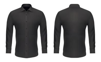 Wall Mural - Mockup template, men black classic dress shirt