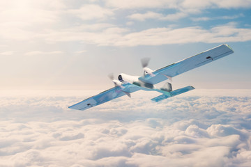 Unmanned aerial vehicle with security cameras flies above the clouds.
