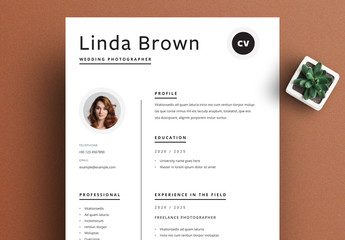 Minimal Resume Layout with Black Accents
