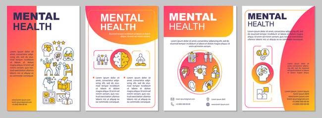Mental health brochure template. Psychiatry flyer, booklet, leaflet print, cover design with linear icons. Psychological wellness. Vector layouts for magazines, annual reports, advertising posters - fototapety na wymiar