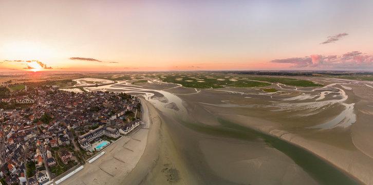 vue aérienne de la baie de Somme près du Crotoy