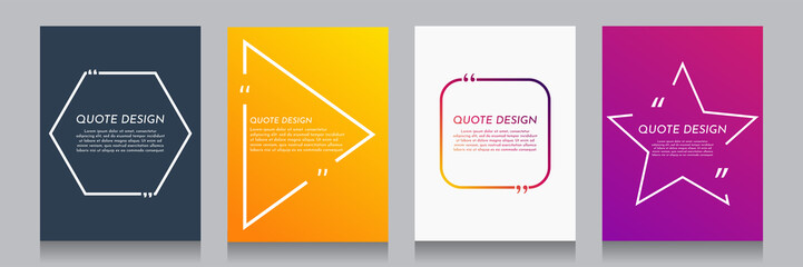 Vector minimalist posters set. Quote frames blank templates set. Isolated textbox. Text in brackets. Citation empty speech bubbles. Color background. Simple color shape. Book page, cover, flyer design