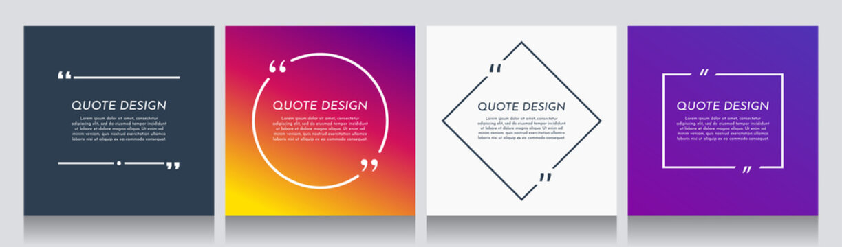 Vector minimalist posters set. Quote frames blank templates set. Isolated textbox. Text in brackets. Citation empty speech bubbles. Color background. Simple color shape. Social media template