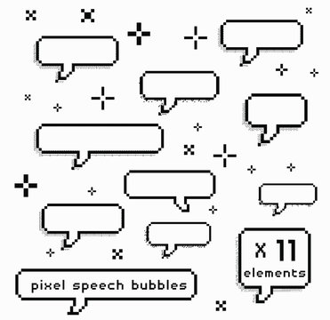 Set of pixel art speech bubbles like in 8-bit arcade game. Retrowave and vaporwave style design elements.