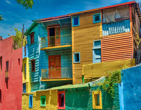Colorful Caminto street scenes in La Boca, the oldest working-class neighborhood of Buenos Aires, Argentina.