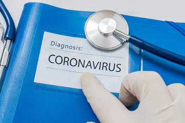 Acrylic Prints Countryside Novel coronavirus disease 2019-nCoV written on blue folder.