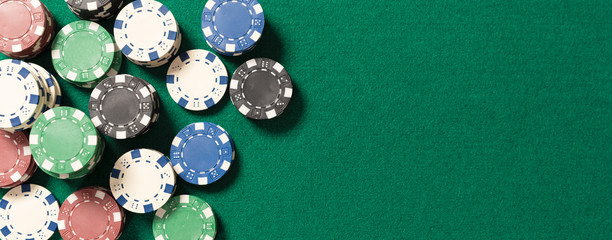 Poker table in casino top view