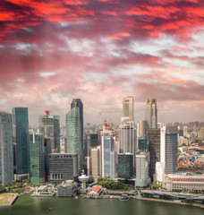 Keuken foto achterwand Dubai Aerial skyline of downtown skyscrapers in Singapore at sunset