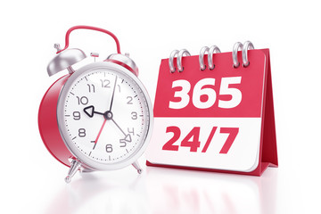 Non-stop Service. An alarm clock placed beside of a calendar with printed numbers and both of them are standing on reflective white background. 3D rendering graphics on the theme of 'Business Service'