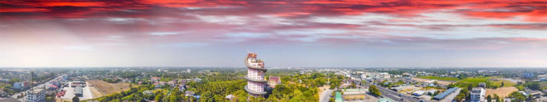 Wall Murals Place of worship Wat Samphran Dragon Temple near Bangkok, Thailand. Aerial panoramic view from drone