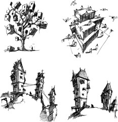 four hand drawn architectectural sketches of a modern abstract architecture with flying people around and old historical spooky houses and fantastic treehouse