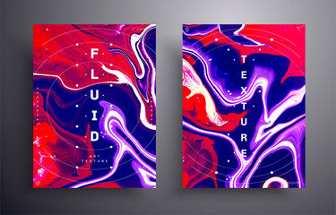 Fototapete - White, purple, blue and red vibrant abstract texture. Liquid waves and stains illustration. Abstract fluid acrylic painting. Applicable for design cover, presentation, flyer, poster and business card