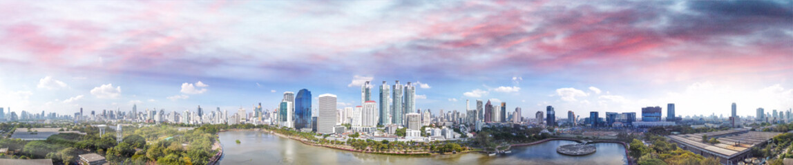 Printed kitchen splashbacks Australia Bangkok skyline, Thailand. Aerial view of city buildings from Benjakitti Park