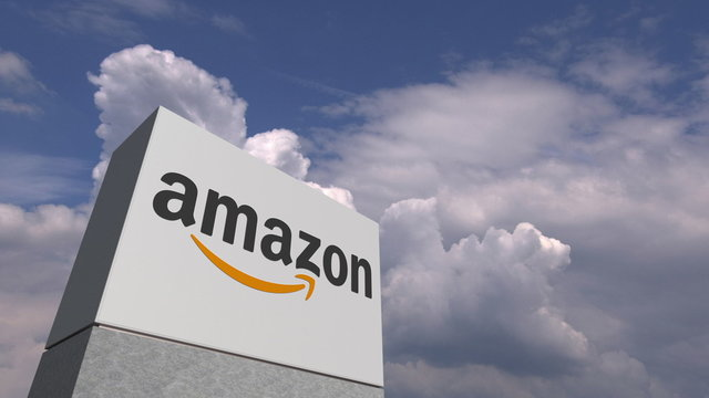 AMAZON logo against sky background, editorial 3D rendering
