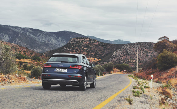 Datca / Turkey - 10.07.19: Rented crossover Audi Q5 TDI quattro in Avec Rent Car company is drive by mountains road