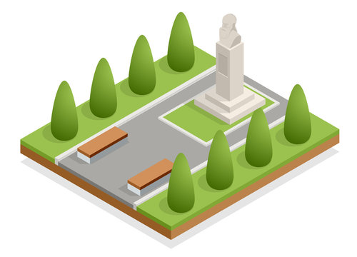 Isometric monument in the city park, bust of the commander. Historical and cultural attraction. History of war.