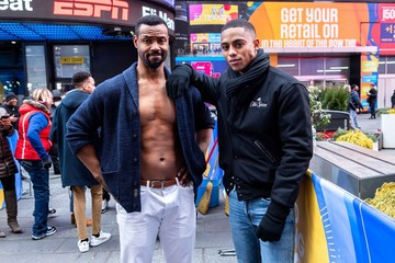 Isaiah Mustafa, Keith Powers at a public appearance for Old Spice Actors Isaiah Mustafa Passes Torch to Keith Powers