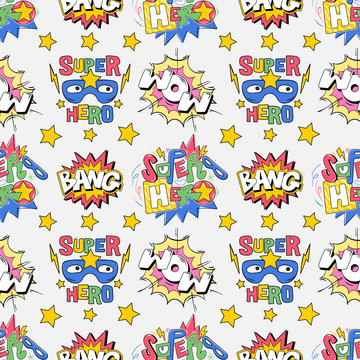 Seamless pattern comics pop art style inscriptions