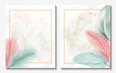 Beautiful background with feather and space for text. Vector illustration. EPS 10 Fotomurales