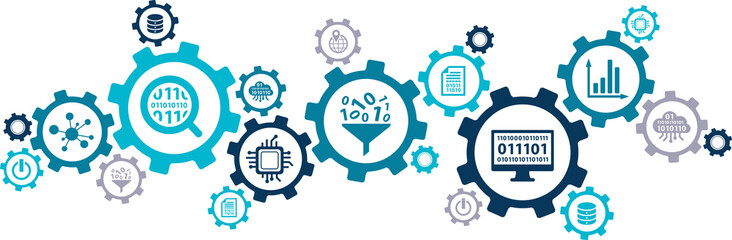 Data analysis and digitalization vector illustration. Abstract concept with connected icons related to digital transformation or disruption, financial statistics, big data and performance measuring.