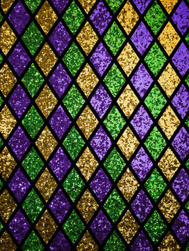 Shiny green, purple and golden diamonds pattern background