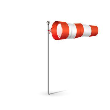 Airport Wind sock 3D realistic vector illustration. Red and white Wind flag showing wind direction and speed. Isolated on white.