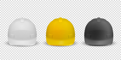 Vector 3d Realistic White, Yellow and Black Plastic Safety Helmet Icon Set Closeup Isolated on White Background. Head Protect, Construction, Repair. Design Template, Mockup. Stock Illustration