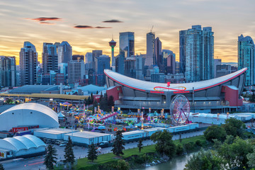 Sunset over Calgary skyline and the annual Stampede event