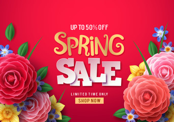 Spring sale vector banner. Spring sale text with colorful camellia flowers and crocus flower in red background for spring seasonal promotion. Vector illustration.