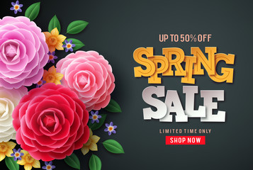 Spring sale vector flowers background. Spring sale text, colorful camellia flowers and crocus flowers in back background for spring seasonal promotion. Fototapete