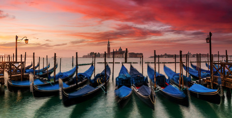 Wall Murals Gondolas Venice gondolas on San Marco square, Venice, Italy. Venice Grand Canal. Architecture and landmarks of Venice