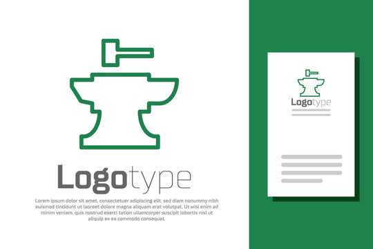 Green line Anvil for blacksmithing and hammer icon isolated on white background. Metal forging. Forge tool. Logo design template element. Vector Illustration