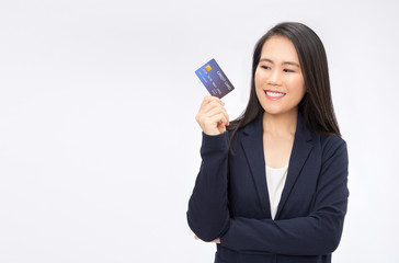 Portrait of smiling confident asian business woman with arm cross in office. Asian business girl standing. Startup successful business executive people concept with copy space