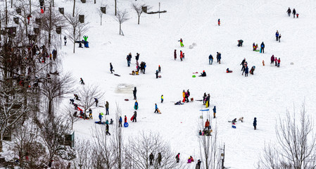 A pic of a bunch of unrecognizable people playing in the snow taken from far  above