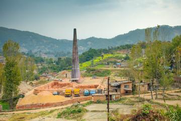 Brick factory outside of Kathmandu in Nepal.