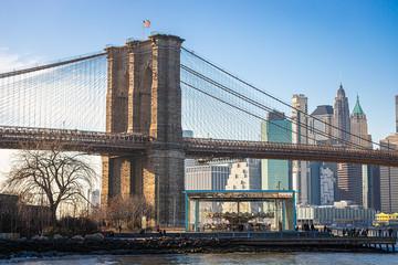 Spoed Fotobehang Brooklyn Bridge brooklyn bridge and new york city manhattan