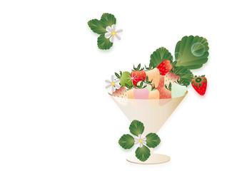 イチゴとイチゴの花や葉をグラスに飾ったイラストの背景素材カラフルイチゴ