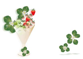 イチゴとイチゴの花や葉をグラスに飾ったイラストの背景素材赤白緑のイチゴ