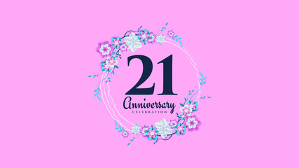 anniversary background with illustrations of flowers and leaves surrounding the numbers.