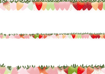 カラフルな苺のライン背景素材