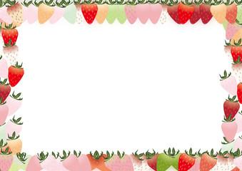 カラフルな苺の横スタイルフレーム背景素材