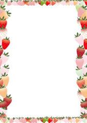 カラフルな苺の縦スタイルフレーム背景素材