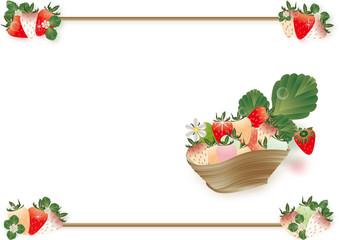 苺とイチゴの花や葉を記の器に飾ったイラスト背景素材