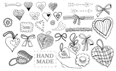 Hand drawn sketch of  sewing hearts, bows, decorative tapes, arr