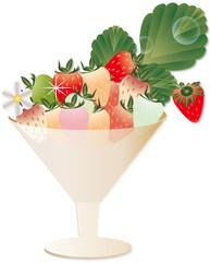 イチゴとイチゴの花や葉をグラスに飾ったイラストのカラフルイチゴ