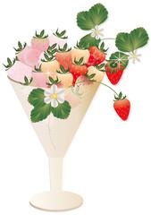 イチゴとイチゴの花や葉をグラスに飾ったイラストのピンクと赤のイチゴ