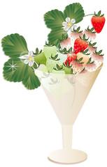 イチゴとイチゴの花や葉をグラスに飾ったイラストの赤白緑のイチゴ